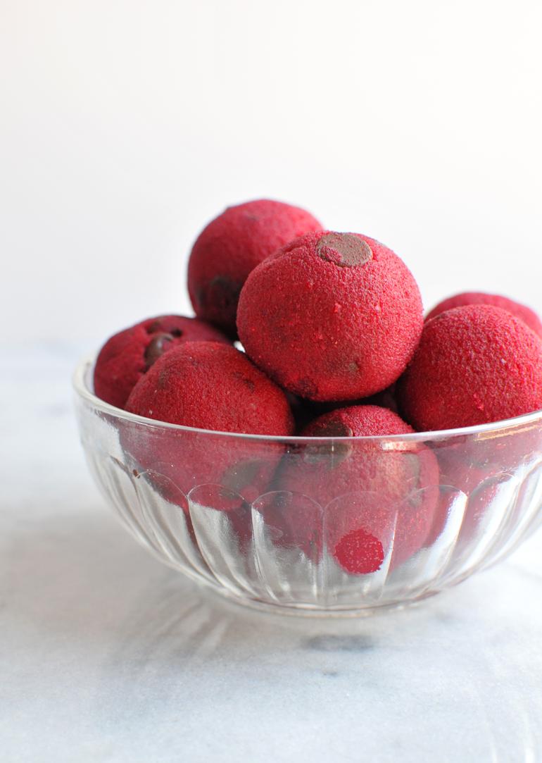 naturally pink cookie dough balls