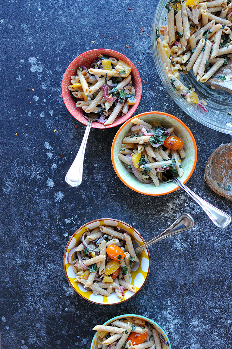 power pasta salad with rainbow chard