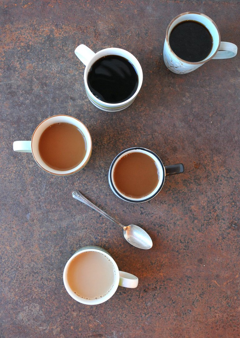 ombre coffee mugs from above