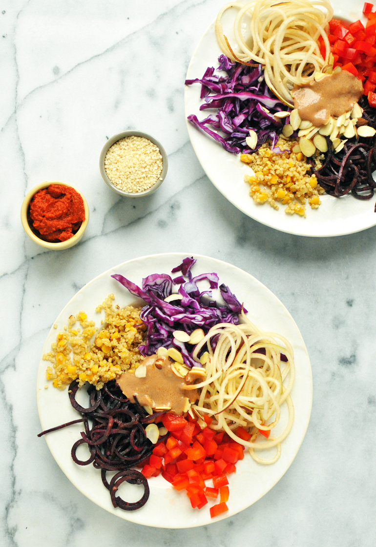 purple power bowl with curry dressing