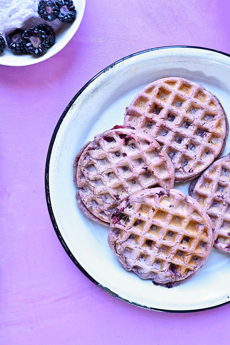 purple sweet potato waffles close up
