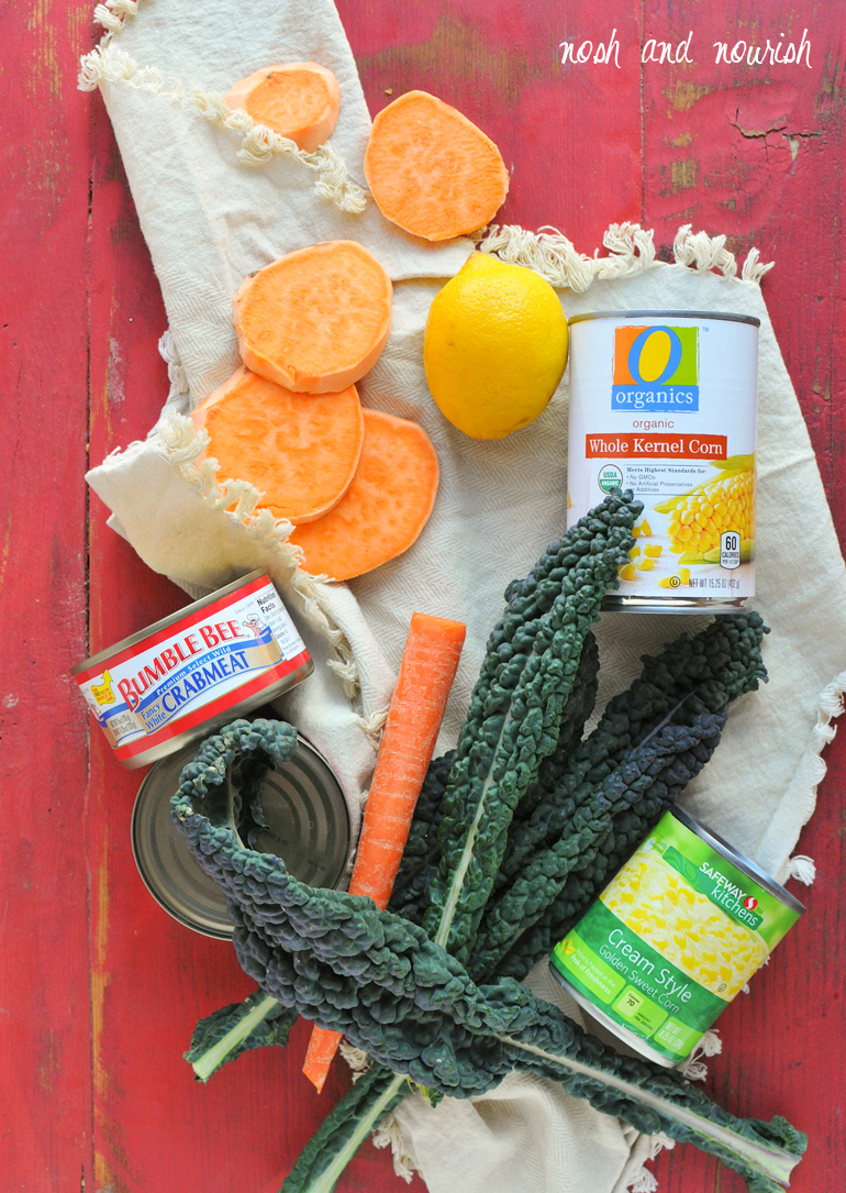 quinoa crab corn chowder ingredients including cans