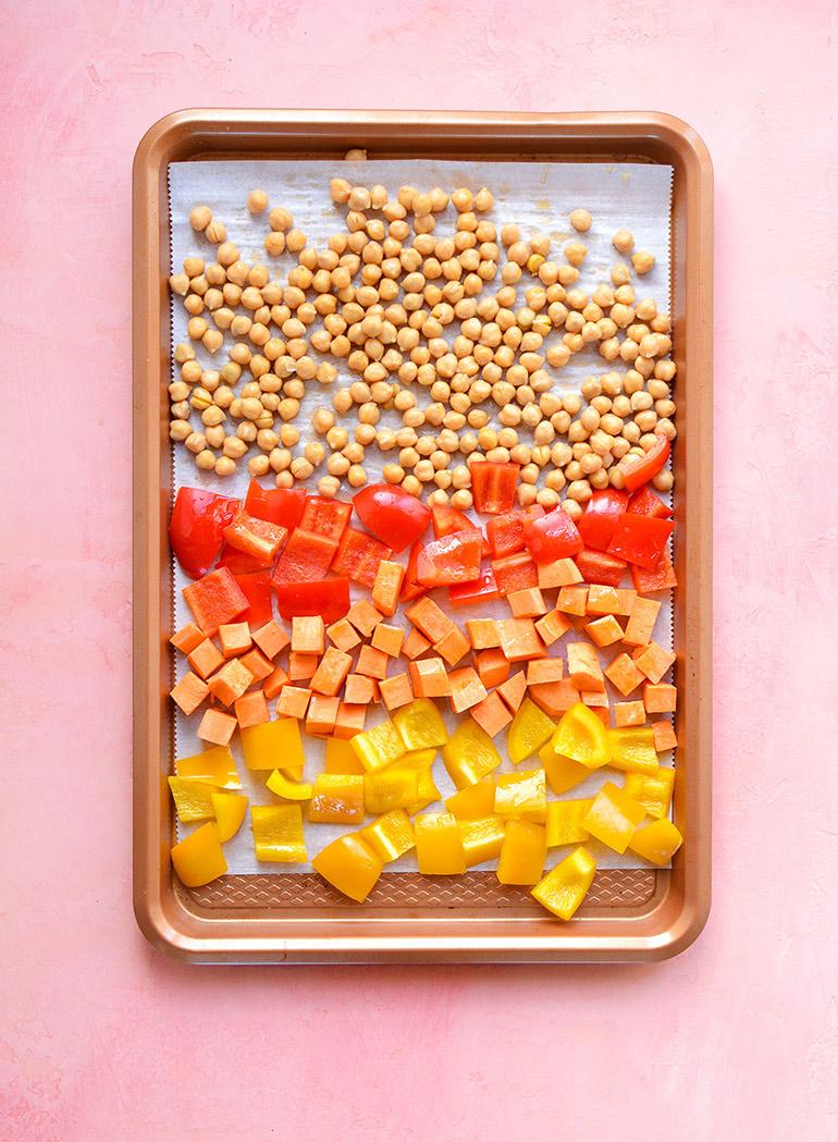 rainbow buddha bowl roasted veggies