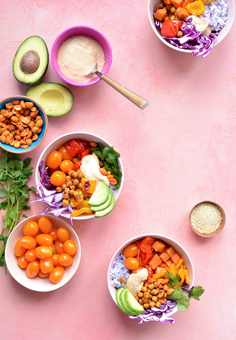 rainbow buddha bowls with Silk and Sprouts