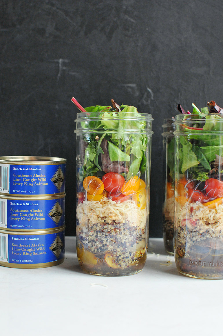 rainbow mason jar salmon salad layers