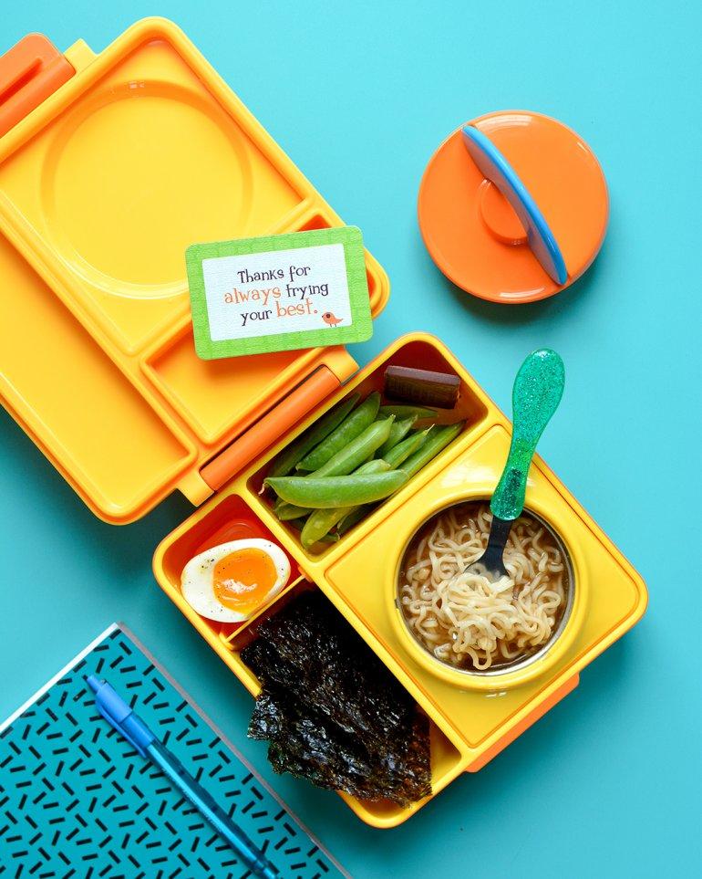 fancy ramen noodles in a kid lunchbox