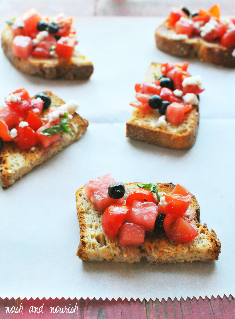 red white and blue bruschetta on gluten-free bread
