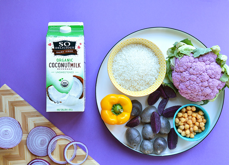 purple nourish bowl ingredients with So Delicious Dairy Free