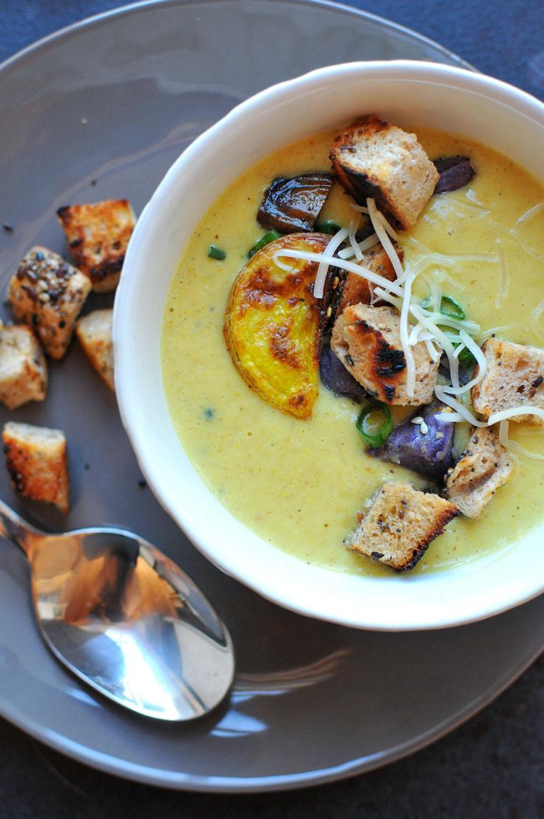 closeup of roasted cauli and potato soup