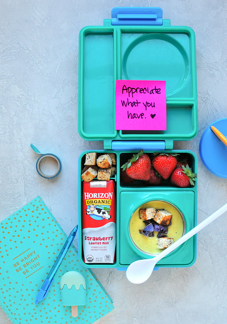 horizon lunchbox with roasted cauliflower potato soup