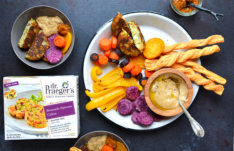 roasted fall veggie platter with dr. praeger's brussel sprouts cakes