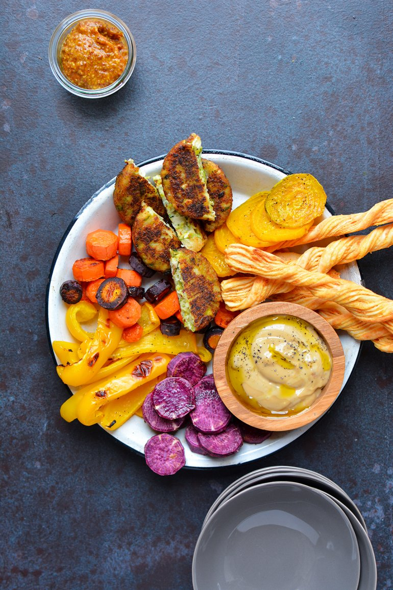 roasted fall veggie platter with black truffle aioli