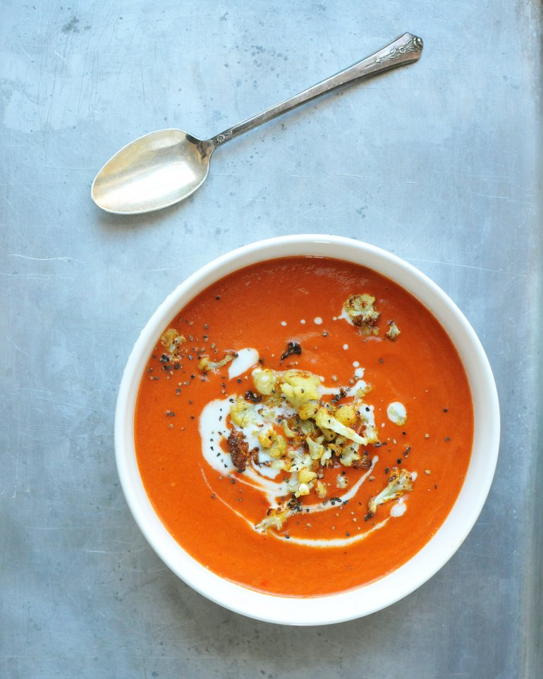 red pepper and tomato soup with roasted cauliflower