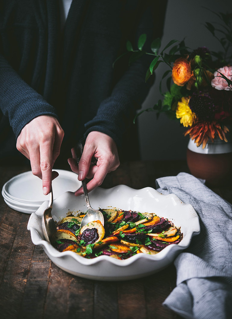 serving fall vegetable bake