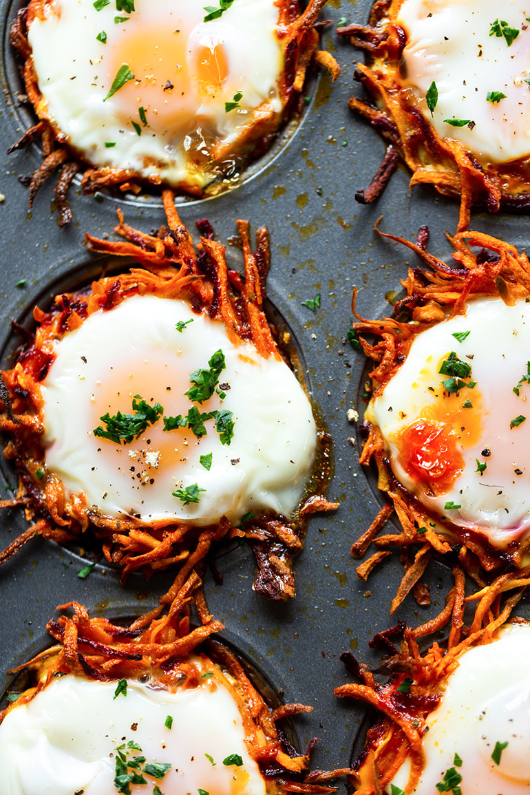 egg nests with root veggies in muffin tin