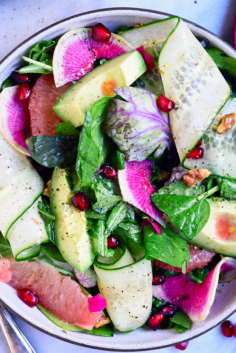 watermelon radish in salad