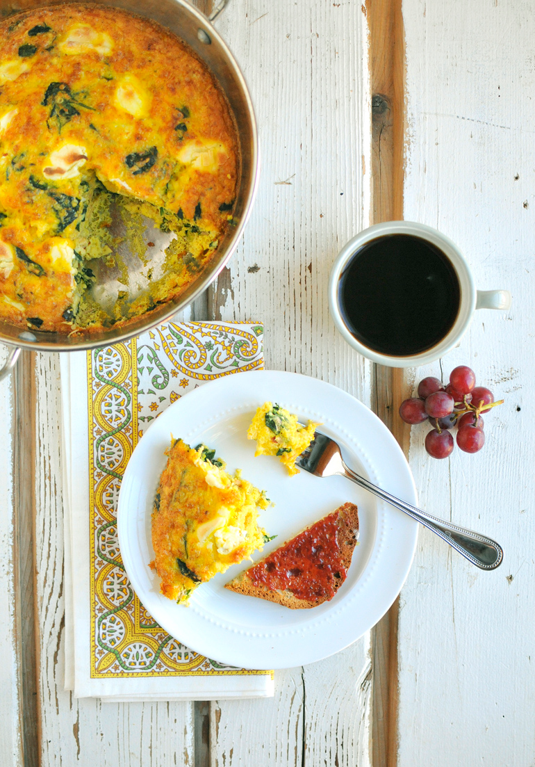 smoked salmon frittata with spinach and cream cheese