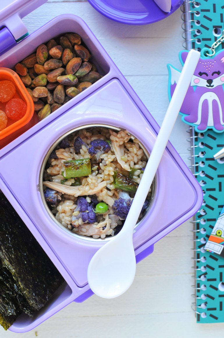 omiebox purple lunchbox with sesame rice and chicken