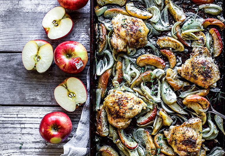 chicken and apple sheetpan meal