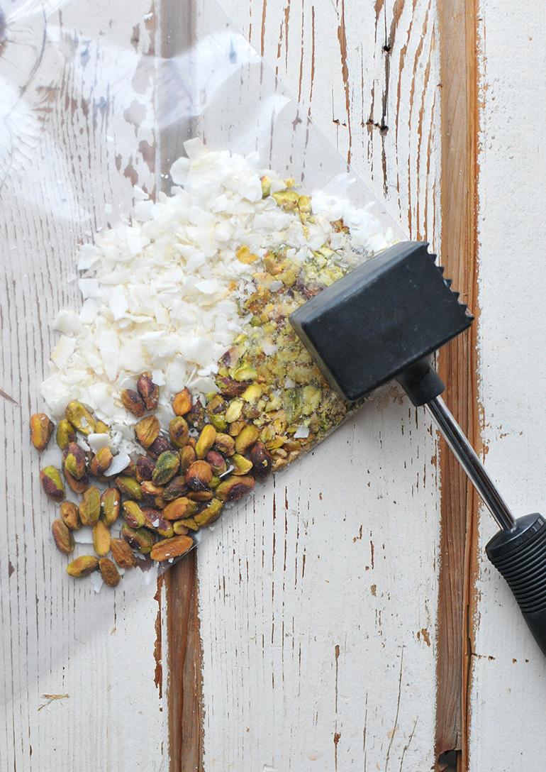 crushing pistachios