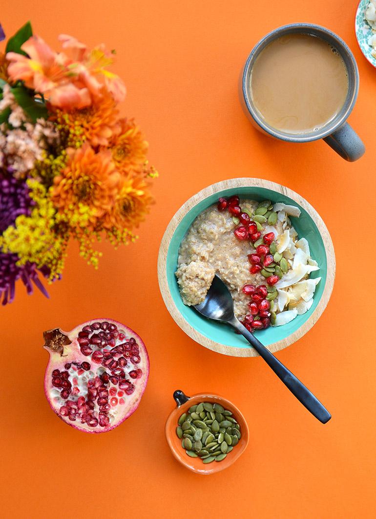 Silk pumpkin spice oatmeal bowl