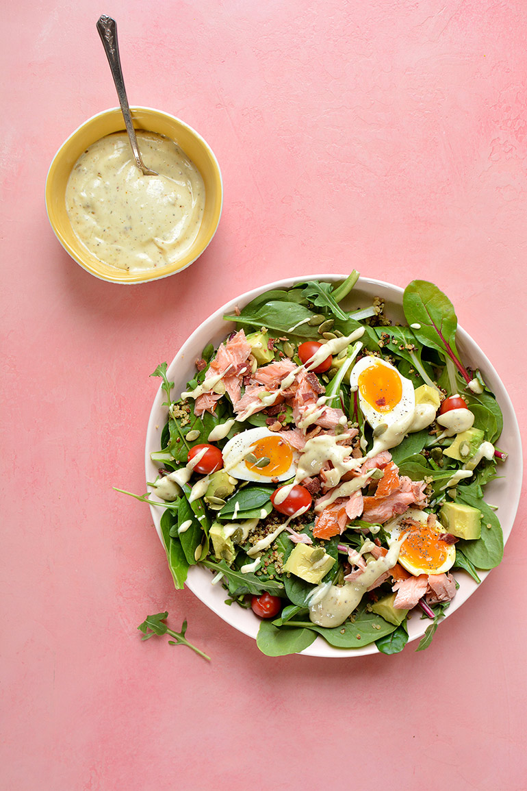 smoked salmon cobb salad with creamy lemon dressing