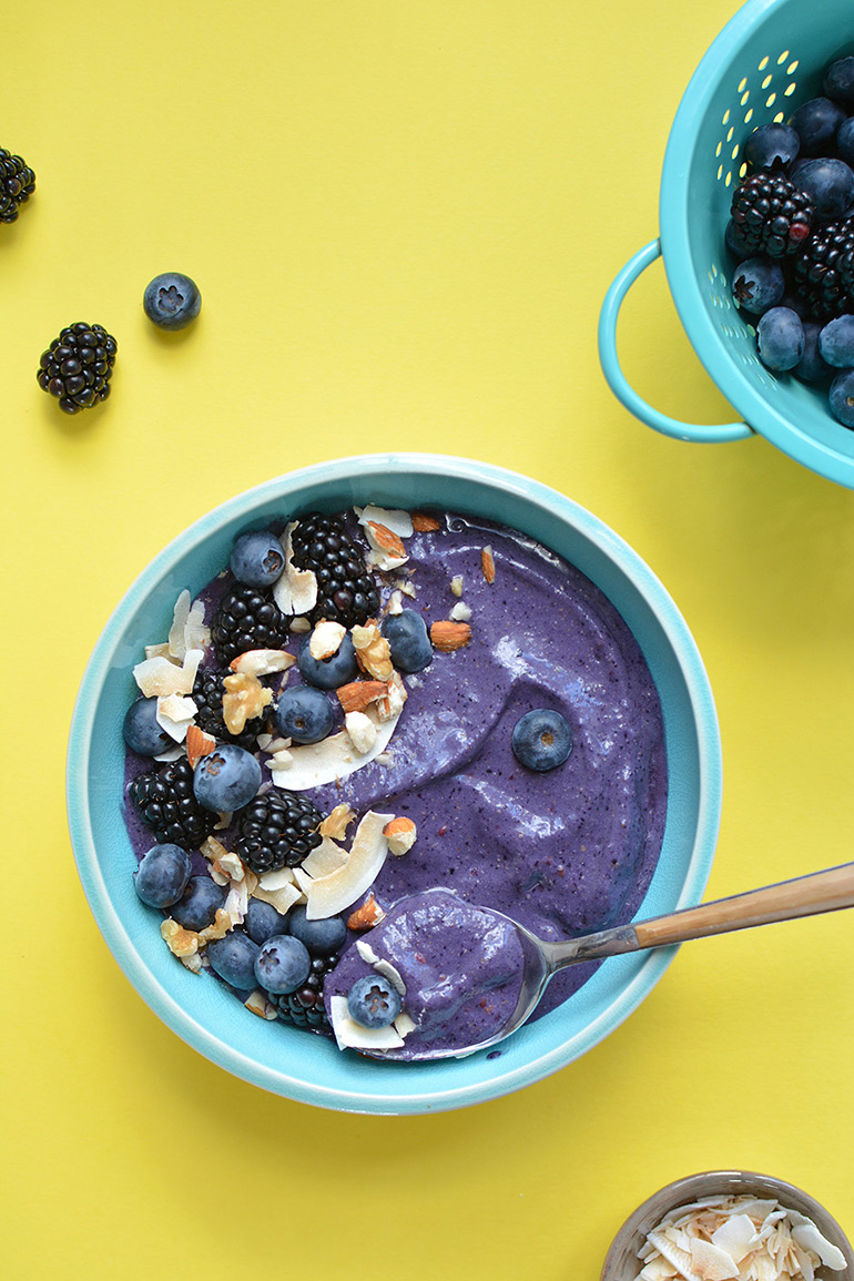 berry smoothie bowl with Silk and Vega