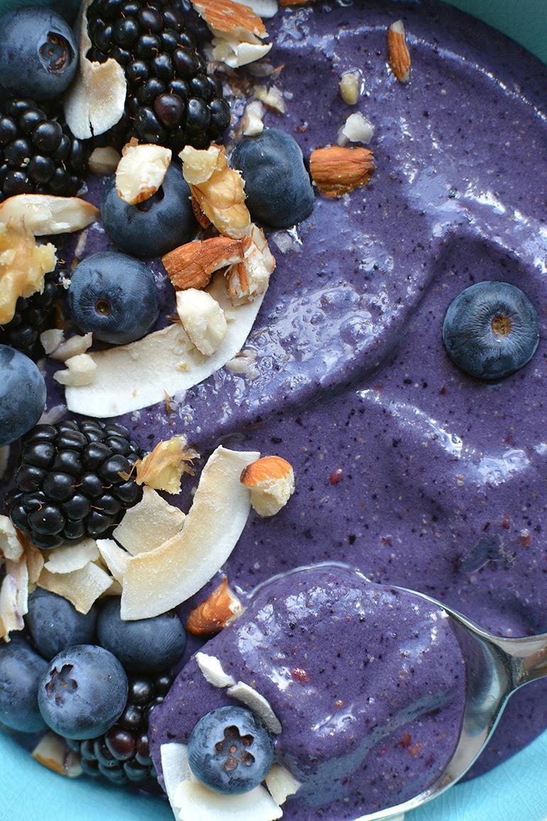 close up of berry smoothie bowl