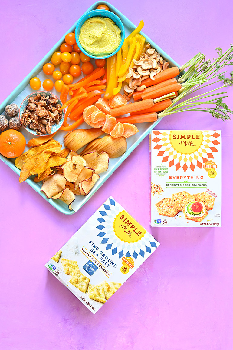 orange themed snack tray with simple mills