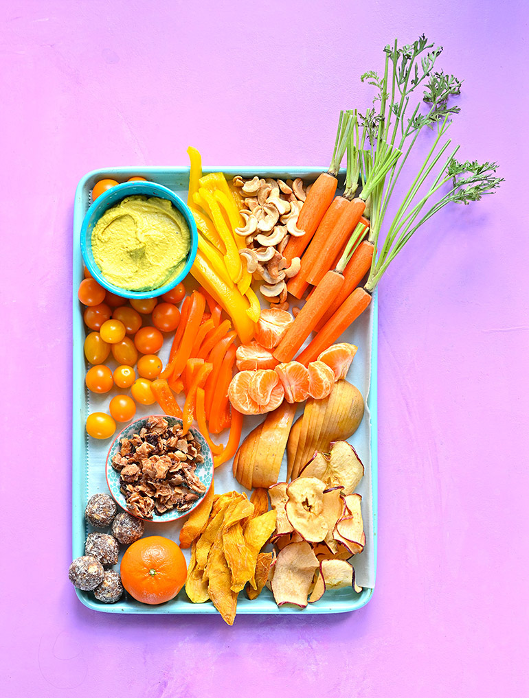 orange themed snack tray
