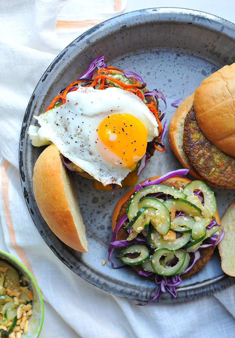 spicy pickled cucumbers on korean bbq veggie burgers