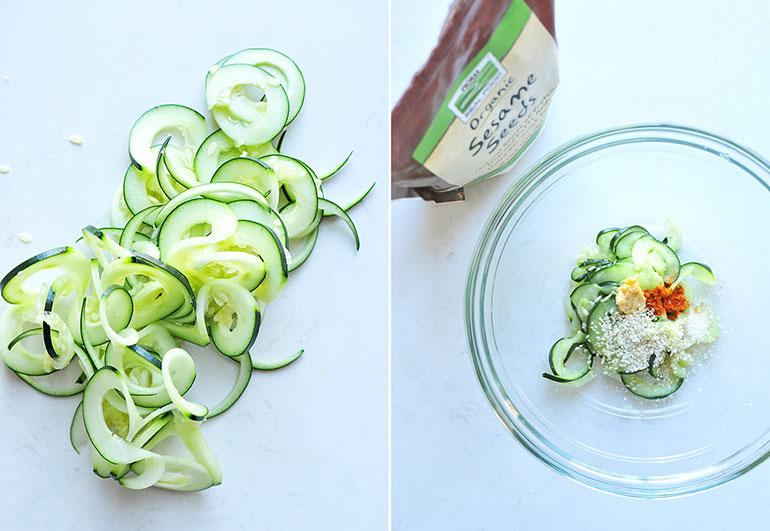 spiralized cucumbers