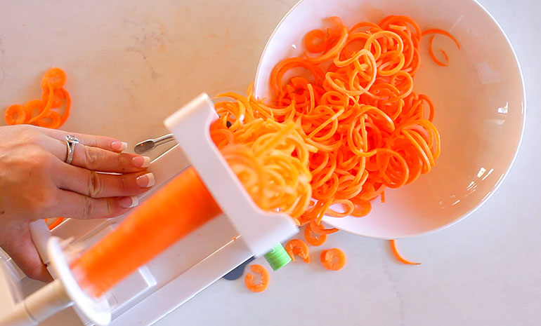 spiralizing carrots with the inspiralizer