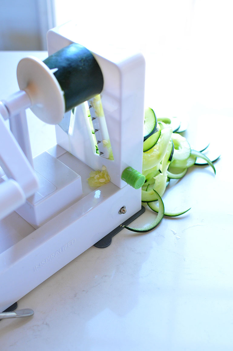 spiralizing cucumbers with inspiralizer