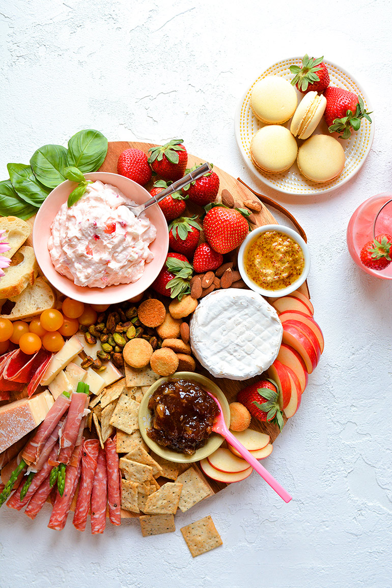 spring charcuterie board with california strawberries
