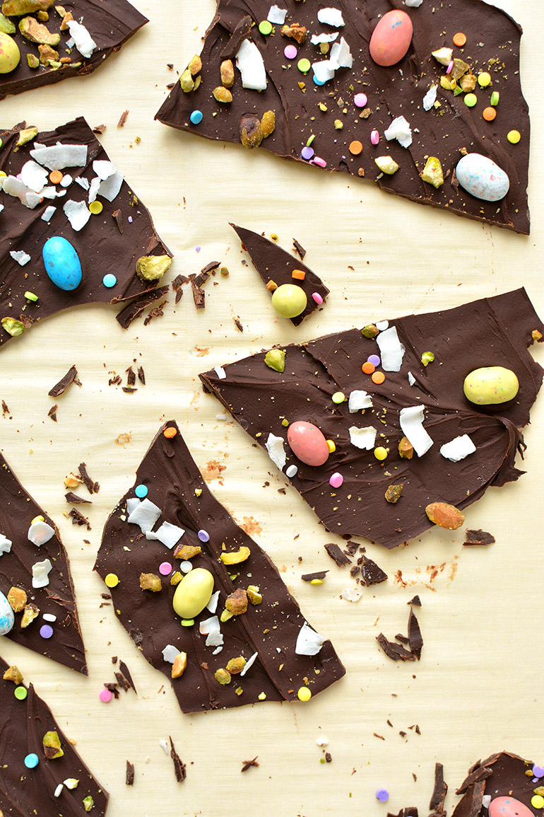spring chocolate bark in pieces