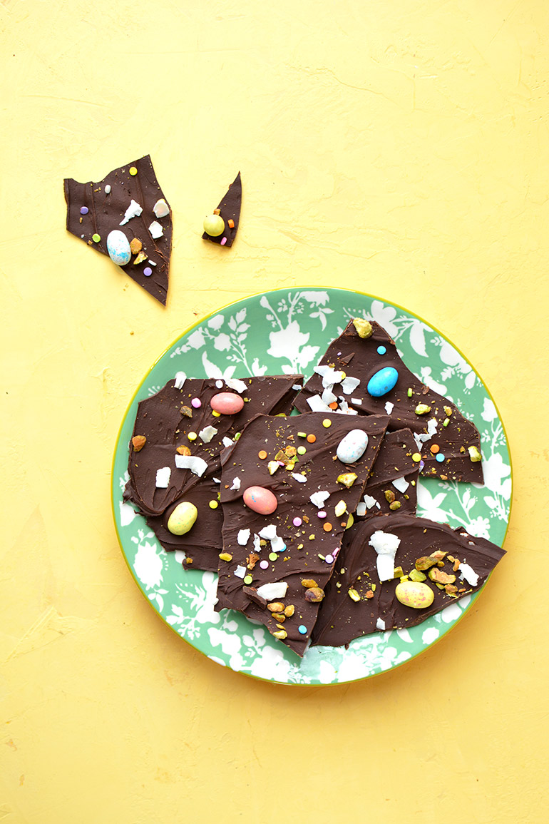 spring chocolate bark with international delight
