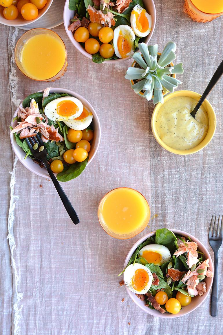 spring smoked salmon cobb salad with vital proteins