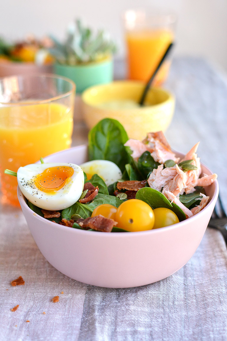 smoked salmon cobb salad sideview