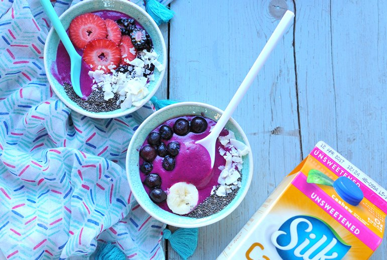 dragon fruit smoothie bowl with Silk