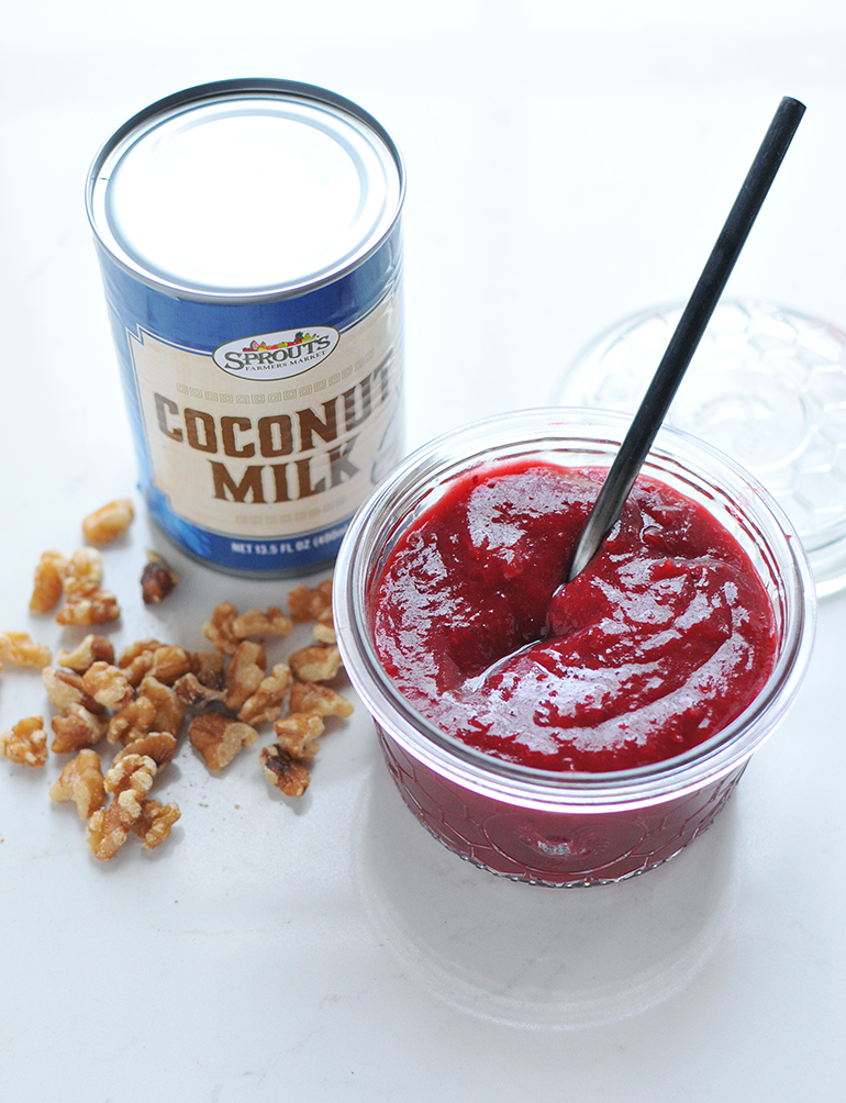 sprouts coconut milk and cranberry relish