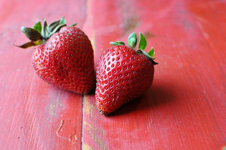 closeup of organic strawberries