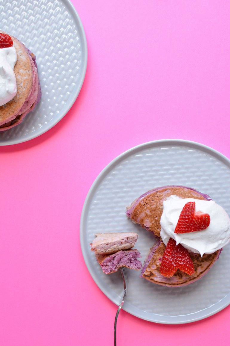 strawberries and cream pancakes plated