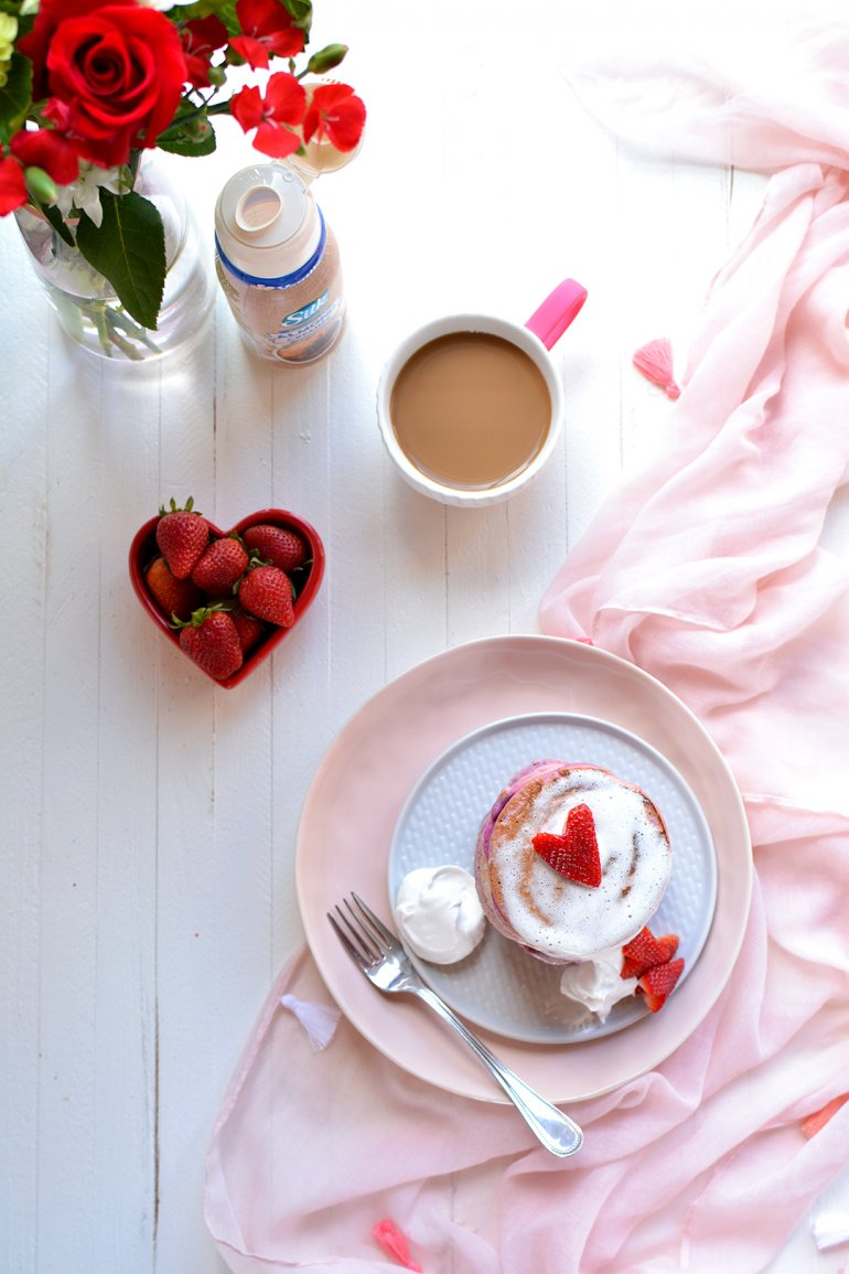 strawberries and cream pancakes with silk creamer
