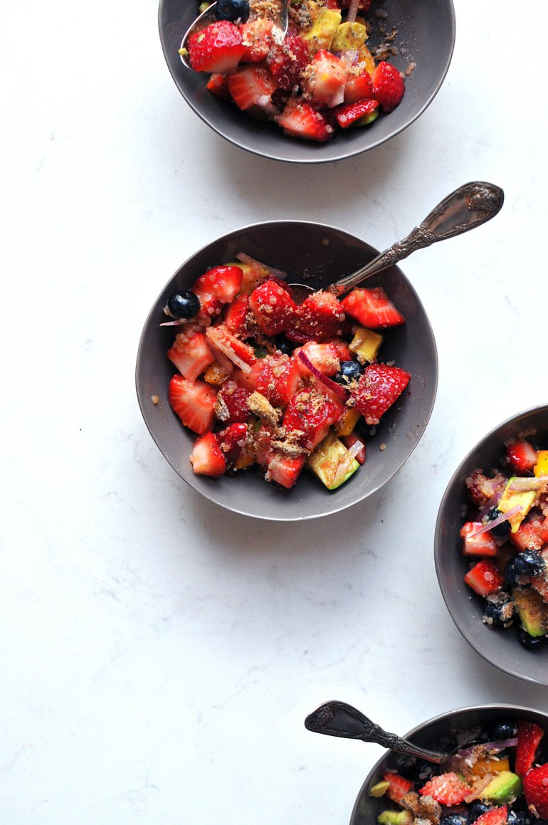 strawberry quinoa fruit salad with citrus vinaigrette