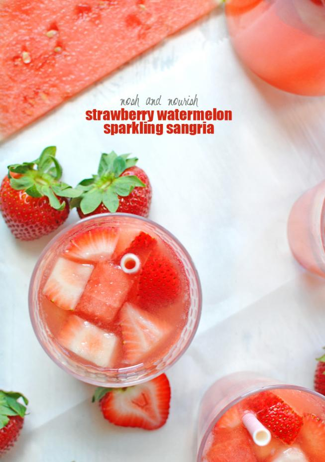 Simple {Strawberry Watermelon Sparkling Sangria} | Nosh and Nourish