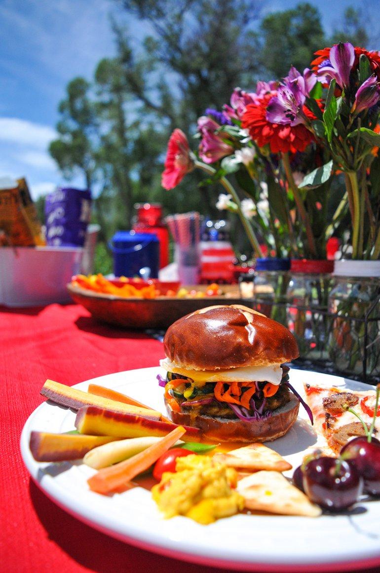summer bbq on plates