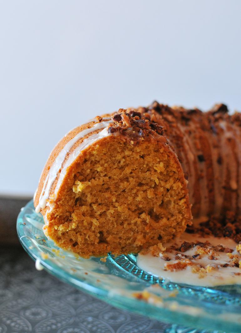 sweet potato bourbon bundt cake sliced