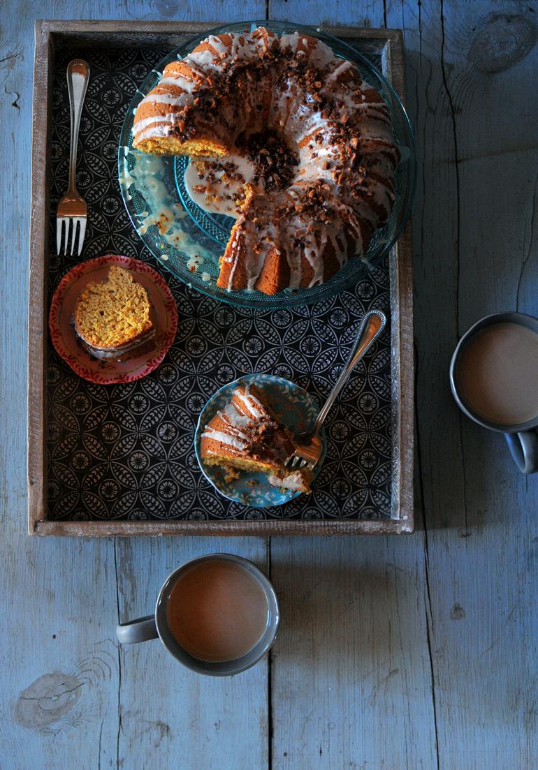sweet potato bourbon bundt cake above