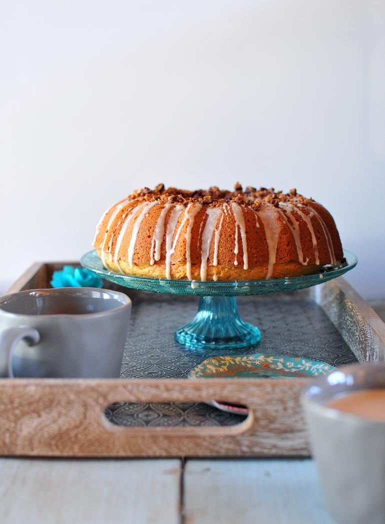 sweet potato bourbon cake on stand